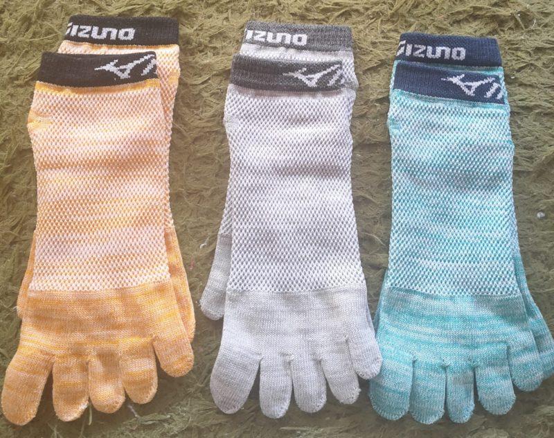 mizunoの五本指靴下3足セットの色パターン